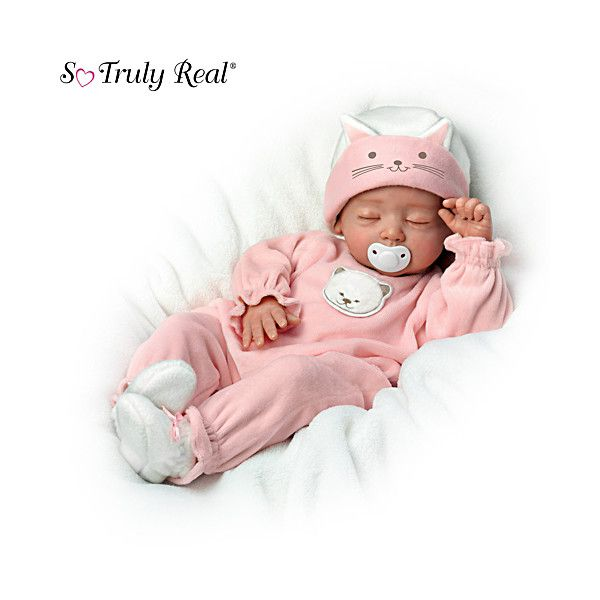 Oh I want a baby doll that looks so real like this....Katie, My Sweet Little Kitten Baby Doll