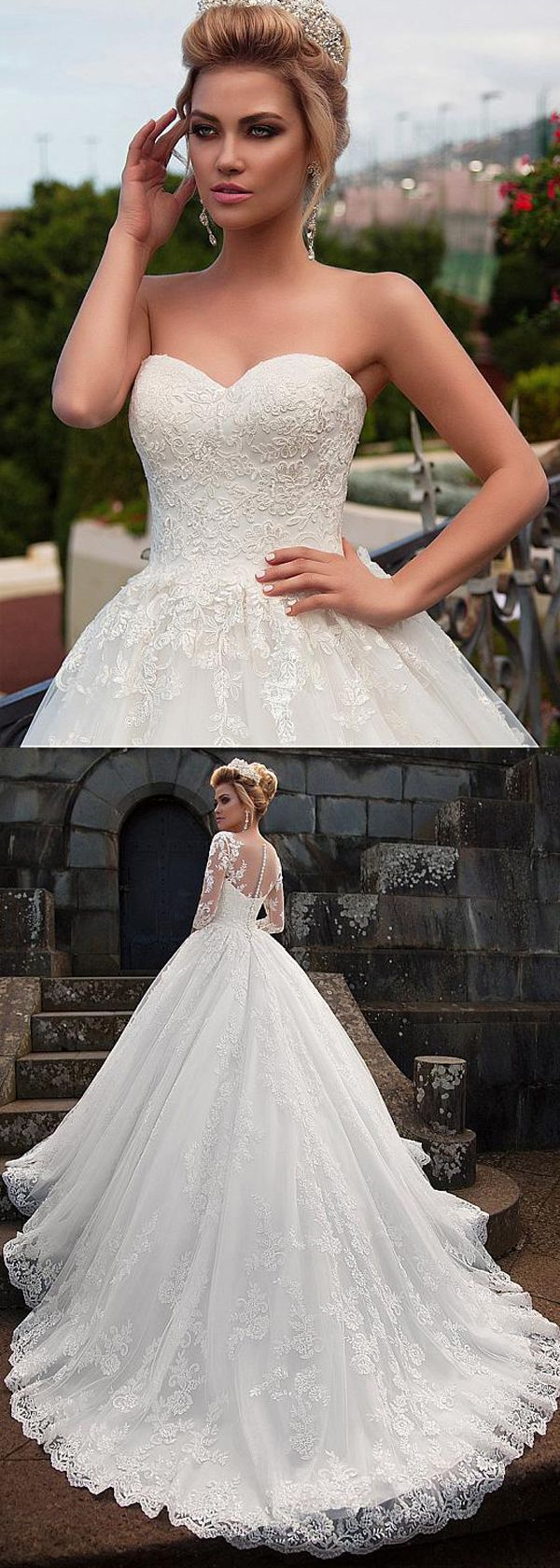 Glamorous Tulle & Organza Scoop Neckline Ball Gown Wedding Dress With Lace Appliques & Detachable Jacket