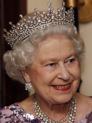"""Queen Elizabeth wearing """"Granny's crown"""", the Girls of Great Britain and Ireland Tiara. It was given to Elizabeth as a wedding present from her grandmother,Queen Mary, who received it herself as a wedding present from a committee representing the girls of Great Britain and Ireland, who raised money for the gift.  I love tiaras, and this is my favorite !"""