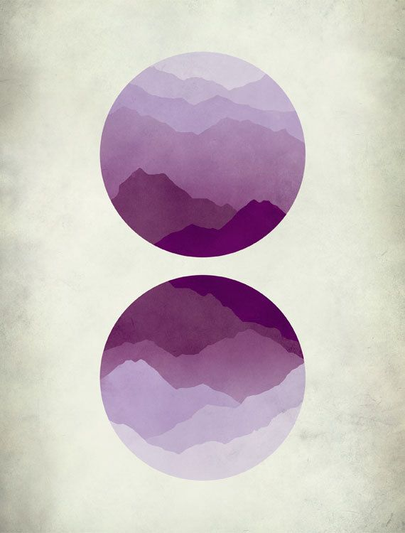 Minimalist Abstract Landscape Art Print, Mountains, Mid Century Modern, Purple, Circles
