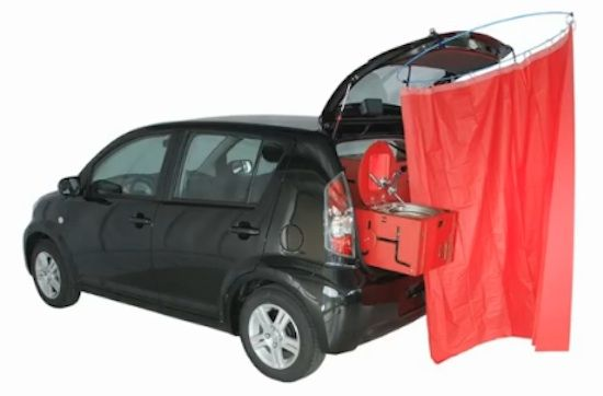 Pretty cool product. Swiss room box 4.   Turn Your Car Into a Tiny Motorhome