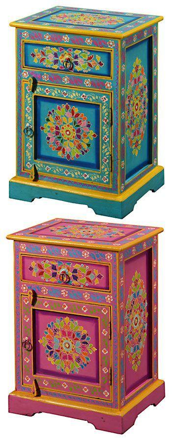 Handpainted indian bedside cabinet http://www.pinterest.com/xiriam/loving-gypsy-decor/ #bedside_cabinet #handpainted #indian | Homes | Pinterest | Bedside cabi…