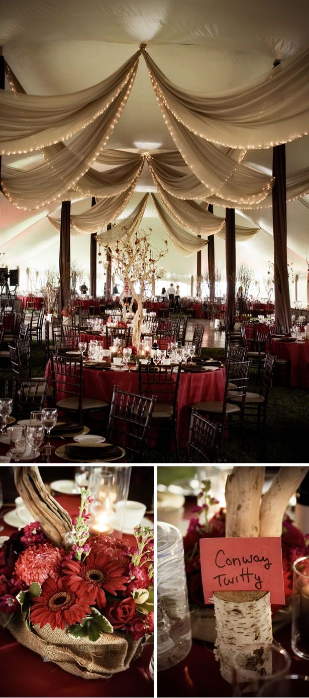 Country-Themed wedding; and they used Vista Print invitations and place cards!....awesome!