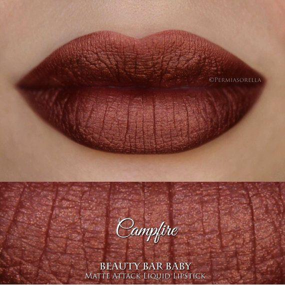 Kampvuur vloeibare Lipstick mat Metallic van BeautyBarBaby op Etsy