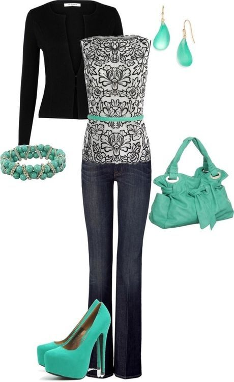 casual outfit and could be a cool work attire if you switch the jeans to black pants....like the mint color