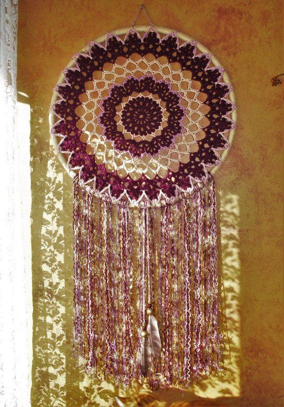 Gigante extra-large prugna ciliegia dreamcatcher oro passione design unico uncinetto mandala dream catcher fibra arte appeso a parete boho hippie zingara