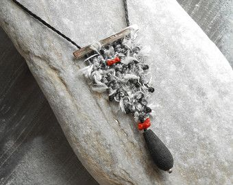 Hand woven Silk Necklace - mini tapestry triangle, black + white with Silver & red Coral - loom woven pendant - textile jewelry - fiber art