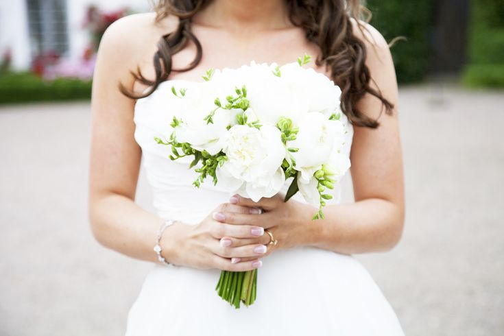 Wedding bouquet white peonies