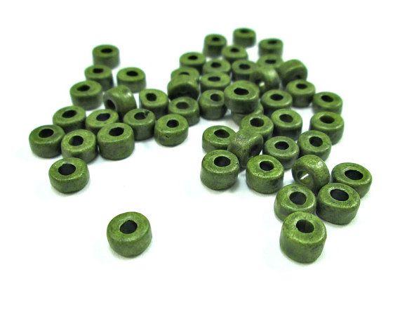 Khaki green greek ceramic beads #greek #ceramic #beads #craftsupplies #jewelrysupplies #diyjewelry #jewelrymaking #green #khaki #oandn