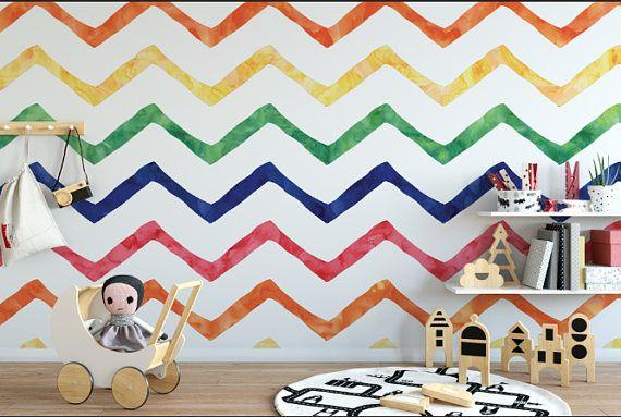 Watercolor Rainbow Chevron Wallpaper Removable Wallpaper Etsy Rainbow Chevron Wallpaper Chevron Wallpaper Peel And Stick Wallpaper