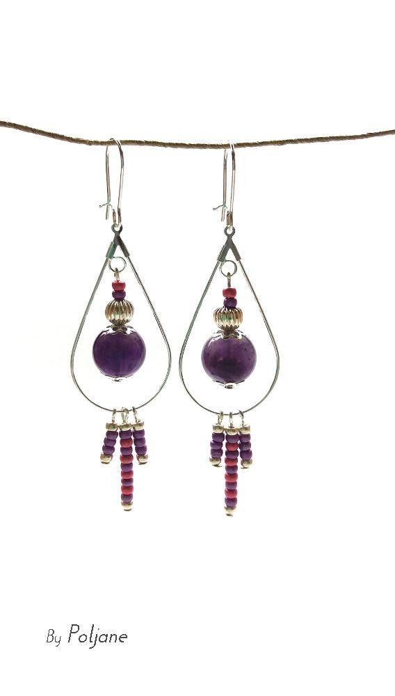 Boucles d'oreilles améthyste violet goutte d'eau argentée breloque perles rose et parme - boucles d'oreilles pierre fine