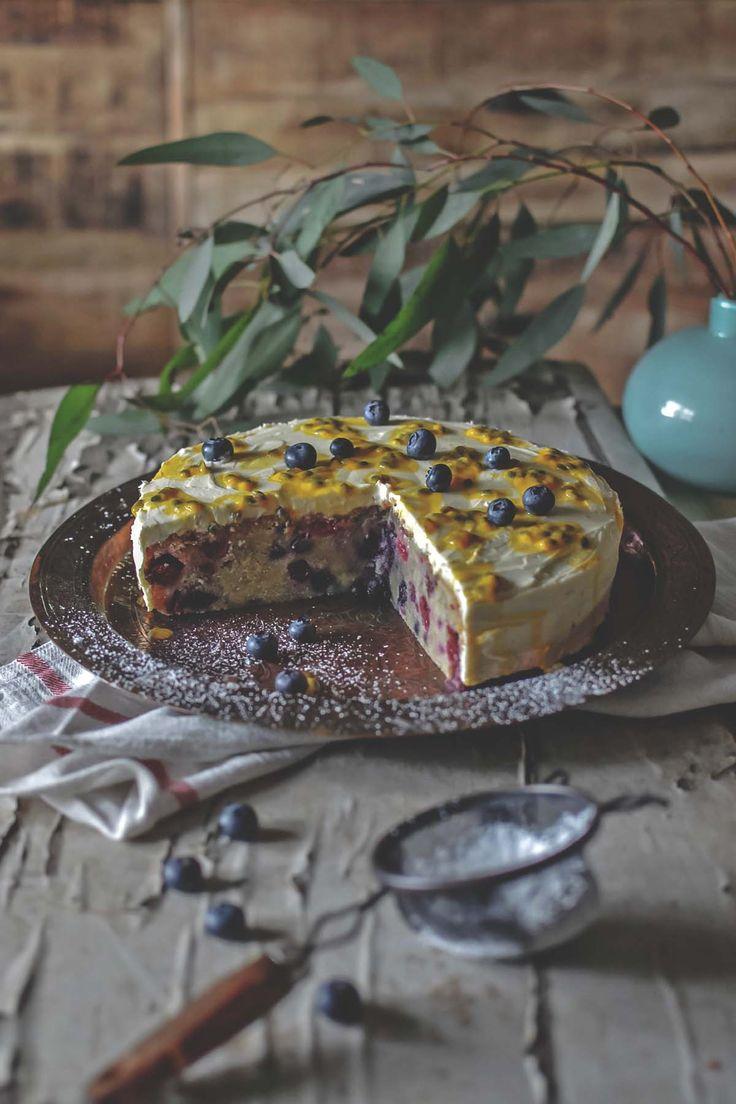 Winter berry cake with mascarpone & passionfruit | heneedsfood.com