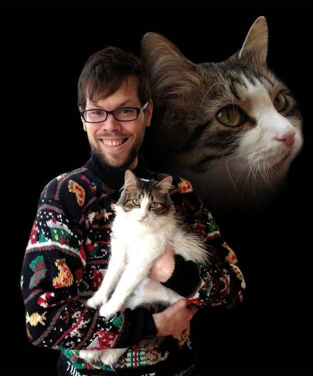 Future cat, past cat, future past cat. | 31 Absurd Pictures Of Men With Their Pets. Awkward Family Photo Christmas Card Idea