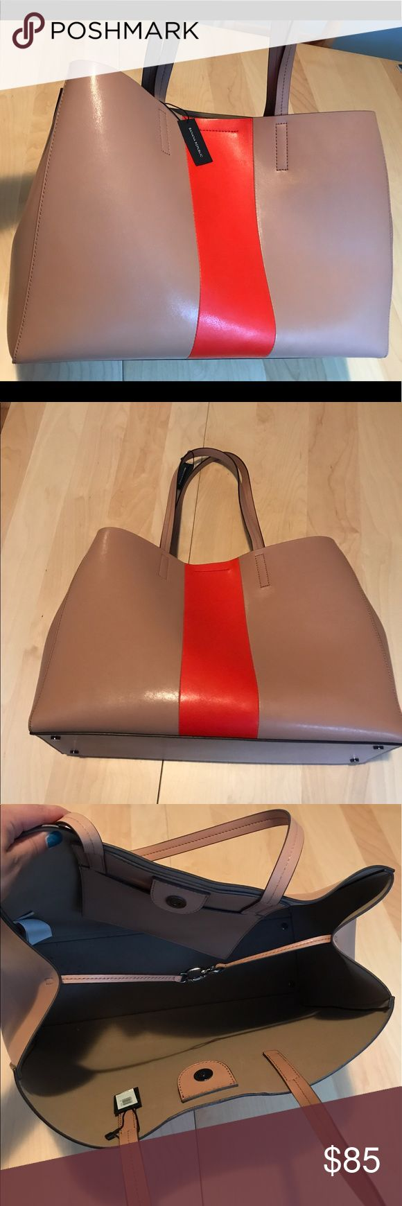 "Banana Republic leather tote, new with tags! Very large leather tote bag from Banana Republic, new with tags! Beige leather with an orange stripe for a pop of color. Will easily hold a 15"" laptop. Banana Republic Bags Totes"