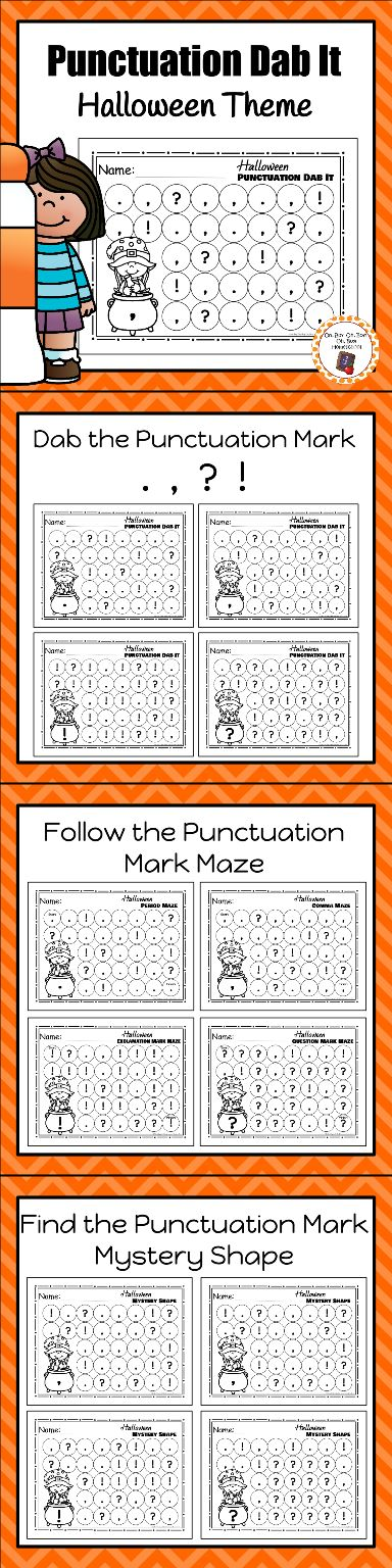 Work on punctuation mark recognition with these fun hands on dab it worksheets. Your students will enjoy working with bingo markers as they dot periods, commas, question marks and exclamation marks.
