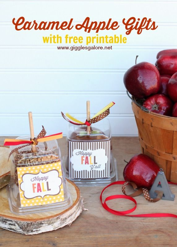 Caramel Apple Gifts with free printable