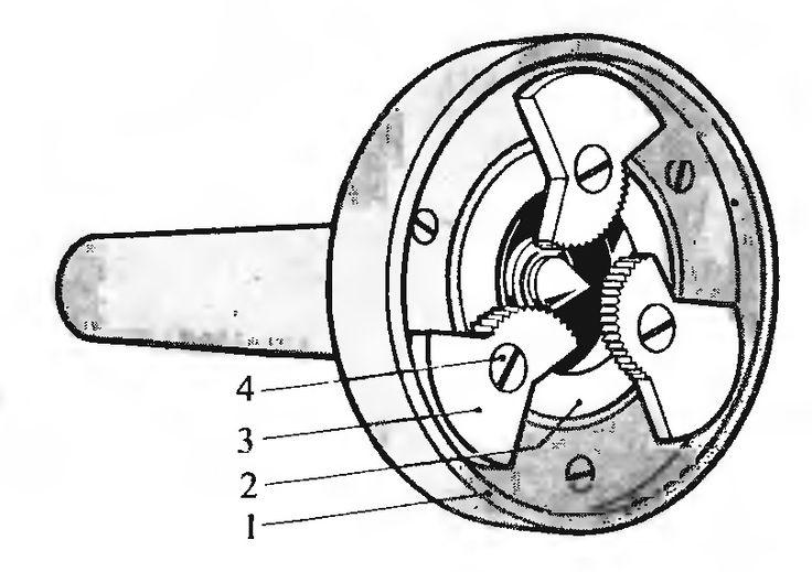 """Рис. 4. Самозажимной поводковый патрон. 1-планшайба, 2-""""плавающее кольцо"""", 3-кулачек, 4-ось кулачка"""
