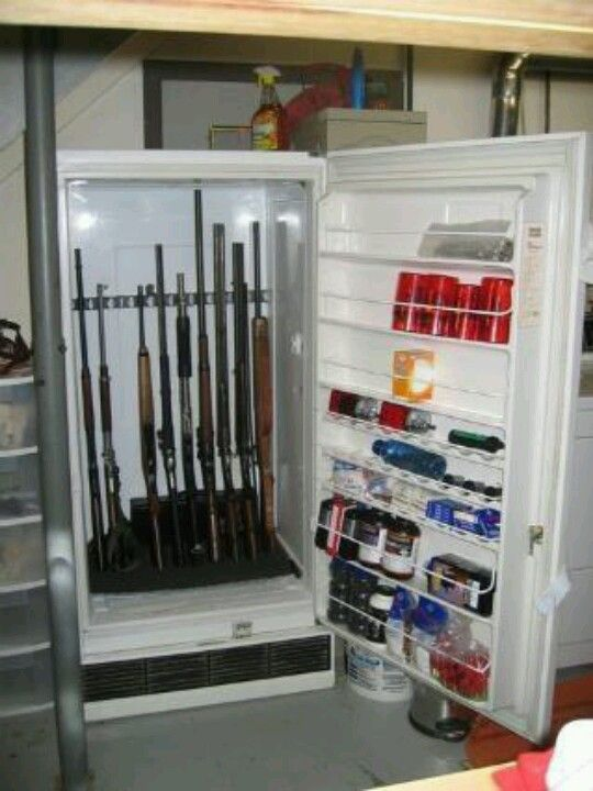 Turn your old refrigerator or tall freezer into a gun safe.  No one would ever think to look in there for guns & ammo!  Just add a padlock.