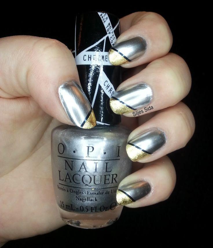 Fabulous silver and gold nails. OPI - Push and Shove, gold leaf and nail art tejp. Fantastiska silver och guldnaglar.