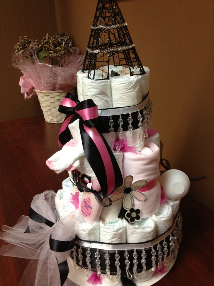 paris themed diaper cake diaper cakes pinterest