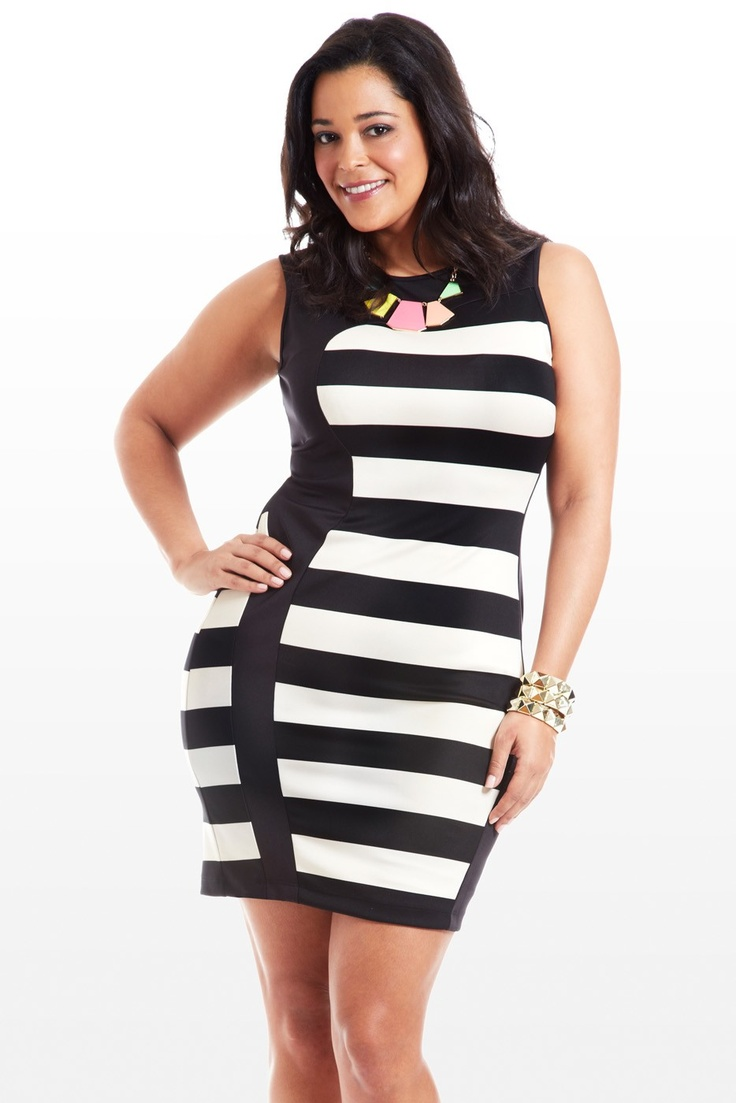 Break out of fashion jail in this striped beauty, stretchy to conform to curves, black-colorblocked to emphasize that hourglass. You'll love the chic sleeveless silhouette and comfortable fabric. Accessorize with a contrast necklace, bangles, and a fun pair of heels.