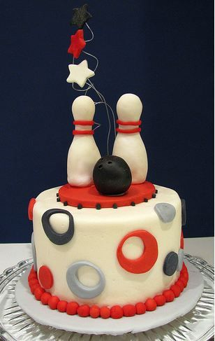 Bowling birthday cake....done in red, white, and blue...minus the stars...add a pin....6 inch smash cake style. Buttercream and fondant accents