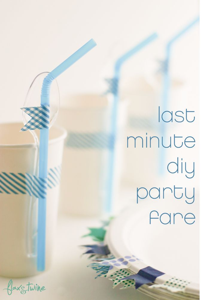 """Last minute washi tape and dollar store paper plates/cups. So simple and pretty. Might do this without it being """"last minute""""."""