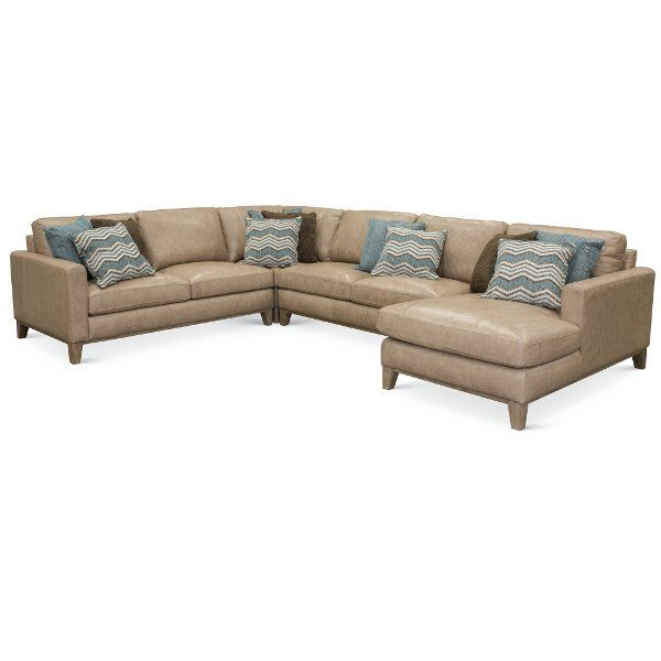 Page Rc Willey: Sand Leather 4 Piece Sectional Sofa With RAF Chaise