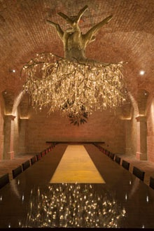 HALL Rutherford Winery ~ Napa Valley. Magnificent chandelier created by artist Donald Lipski. It represents a grapevine root system and includes 1,500 Swarovski crystals!