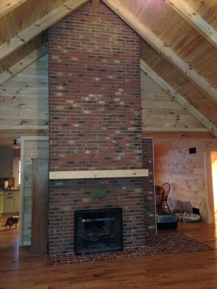 37 best brick tile walls and fireplaces images on - Covering brick fireplace with tile ...
