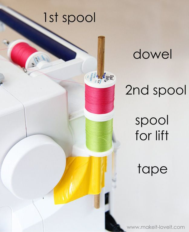 Sewing Hacks | Best Tips and Tricks for Sewing Patterns, Projects, Machines, Hand Sewn Items. Clever Ideas for Beginners and Even Experts  |  Using the Double Needle Without The 2nd Spool Holder  |  http://diyjoy.com/sewing-hacks