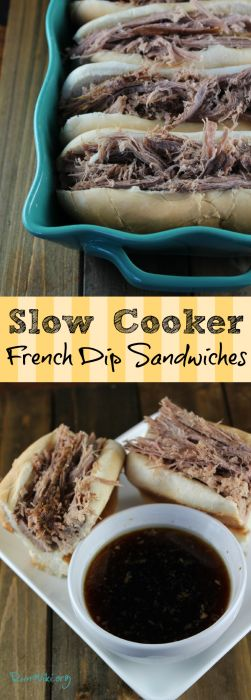 Slow Cooker French Dip  Sandwiches- not exactly healthy, but very delicious. The broth is so rich and flavorful and, unlike some crock pot meals, this one has minimal prep.  Could also make with chicken. These is my go-to recipe for summer and weeknight dinners.  Family friendly, even my kids like it. Could be served for a crowd on game day or pot luck.