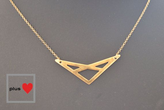 Mix Triangle No.2 minimalist gold plated by PlusLoveStudio on Etsy - 38.00euro