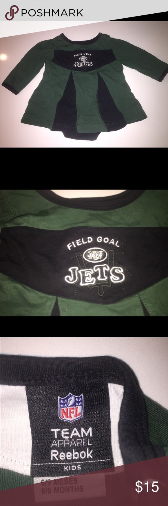 Nfl team apparel Reebok new york jets dress 6-9 mo This is a great cheer dress with long sleeves for your littlest jets fan. Size 6-9 MO no flaws Reebok Dresses Casual