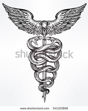 Caduceus symbol of god Mercury. Highly detailed snakes, wrapped around winged staff. Hand-drawn vintage linear tattoo design. Dark romantic isolated vector art.