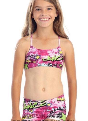 Pink graffiti - kids/child girls bra top / dance spandex ...