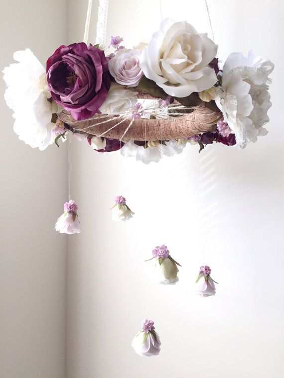 Royal purple nursery flower mobile crib mobile baby by RosyRilli