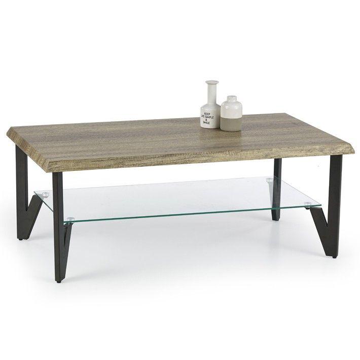Table Basse Rectangulaire Bois Verre Et Metal Sioban Table Basse Rectangulaire Table Basse Verre Bois