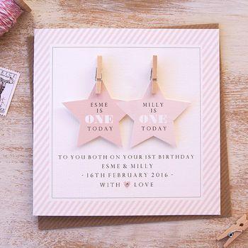 Star Twins First Birthday Card