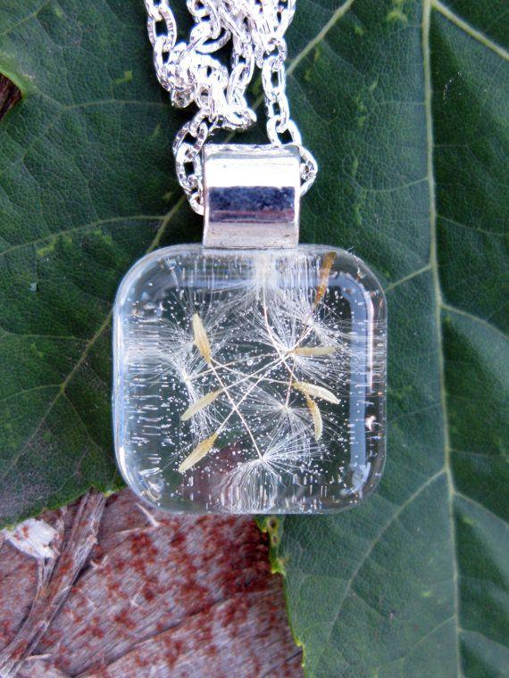 Dandelion Seeds Resin Pendant - real dandelion seeds encased in resin - 5.00 Bargain Bin, Pressed Flower Jewelry on