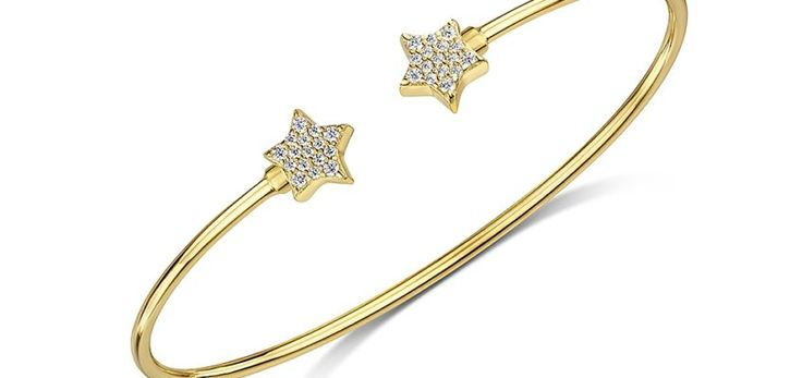 ROX Classic Gold Pave Star Bangle