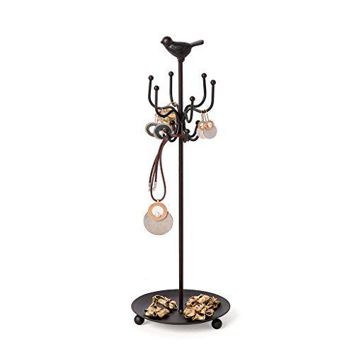 Balvi – Vogel soporte para joyas de estilo retro. Con pájaro. Fabricado en hierro.