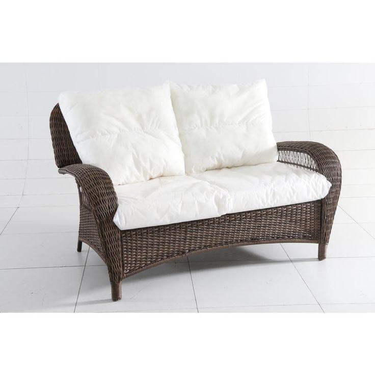 Hampton Bay Beacon Park Wicker Outdoor Loveseat with Bare Cushions