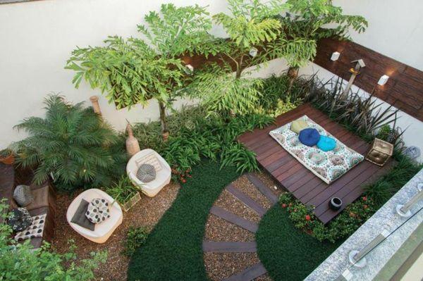 Garten ideen dekoration gehweg mit holz und kies sitzecke for Gartengestaltung urban