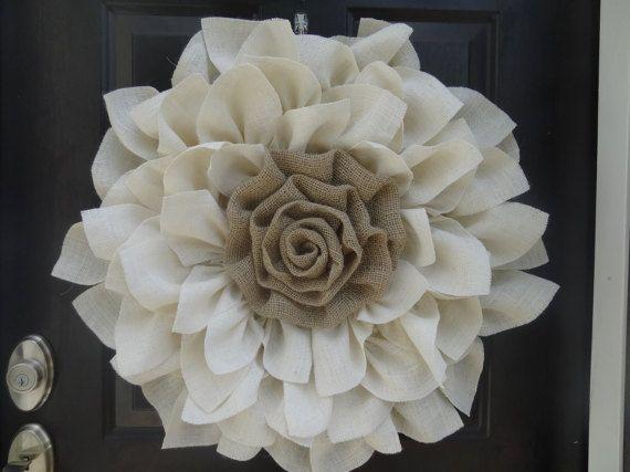 Burlap Flower Wreath Flower wreath Front by Loveshouseofburlap