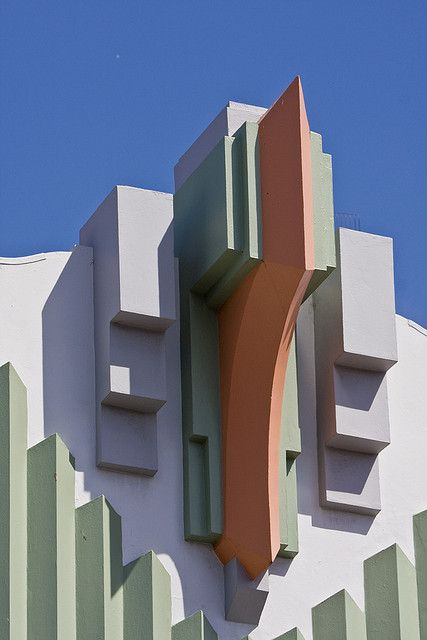 Gotham gothic gets a pastel drenched make-over. Antipodean Art Deco architecture, Napier, New Zealand