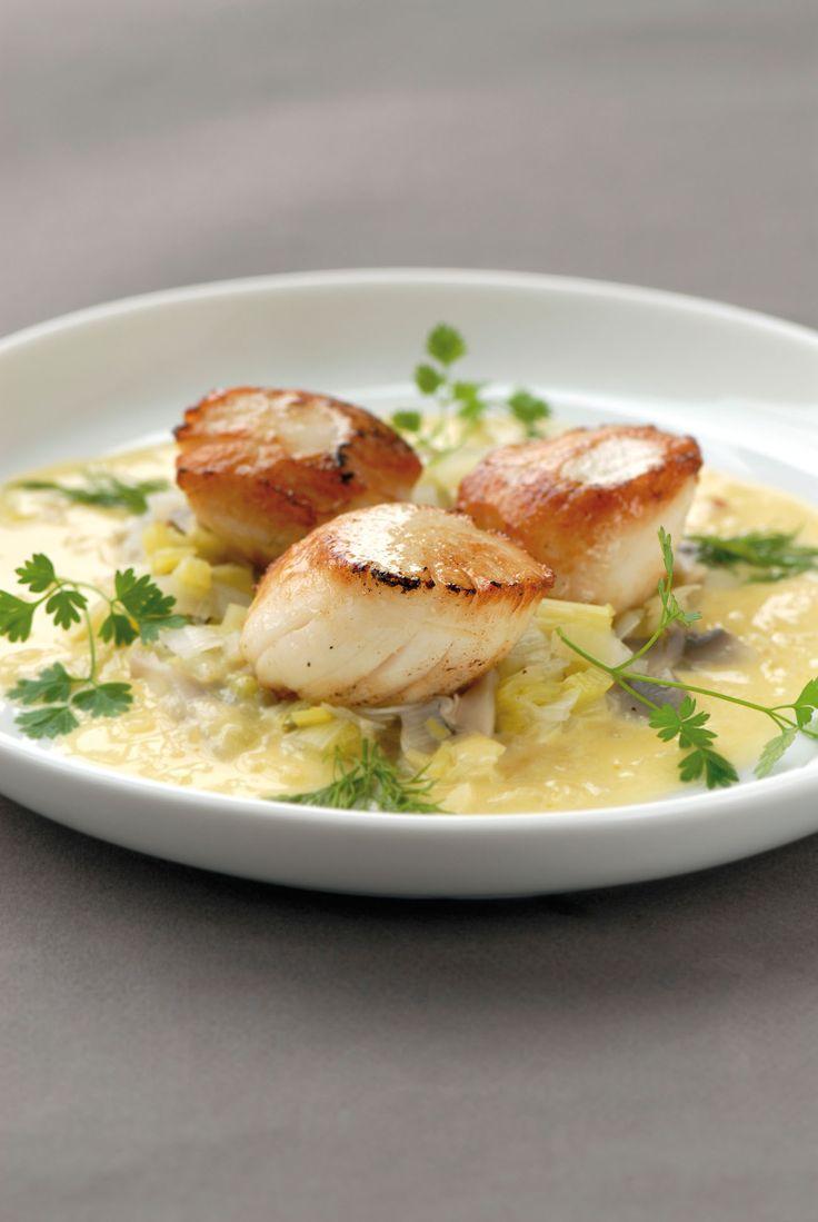 Een overheerlijke sint-jakobsnoten met groenten en blanke botersaus, die maak je met dit recept. Smakelijk!