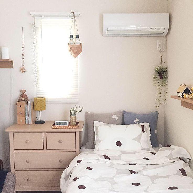 ベッド周り 一人暮らし ナチュラル マリメッコ 北欧 などのインテリア実例 2018 10 03 22 54 13 Roomclip ルームクリップ インテリア グレーのベッドルーム 6畳 インテリア