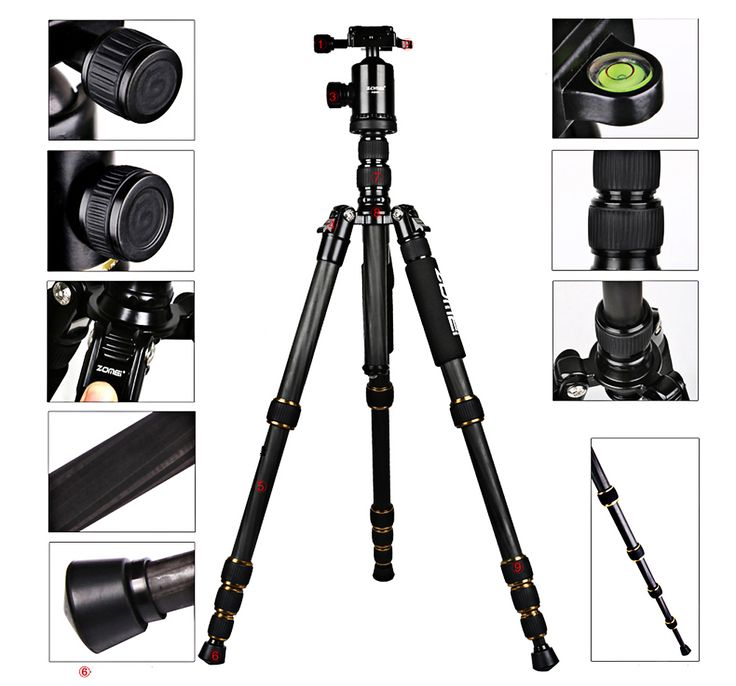 Zomei Z699C 59.4 Inches Lightweight Carbon Filter Tripod - BLACK  Coupon: z66c $ 93.99
