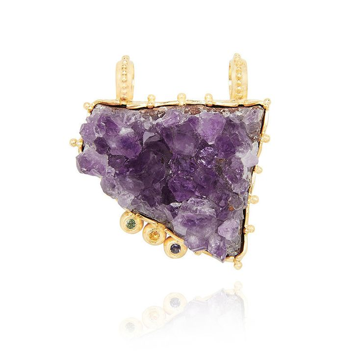 This statement pendant features a beautiful piece of raw amethyst gemstone. | Set in sterling silver and finished in 18 karat yellow gold vermeil. | RAW AMETHYST by Kate McCoy #Amethyst #Necklace #Jewelry #Jewellery #Birthstones #Lifestyle #Fashion #Milestone #GiftIdeas